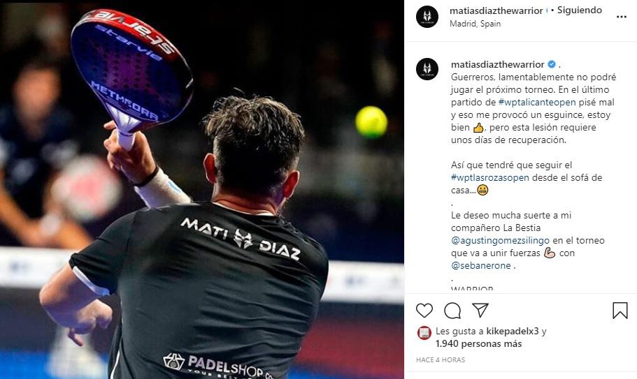 Mati Díaz lesionado