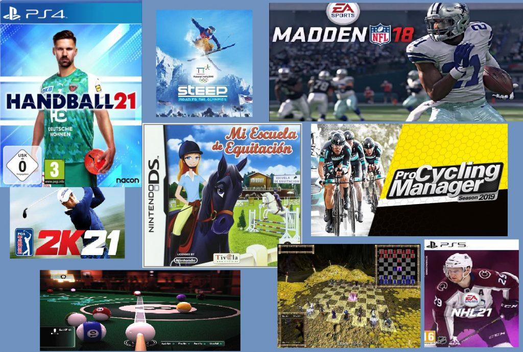Mosaico de videojuegos deportivos variado