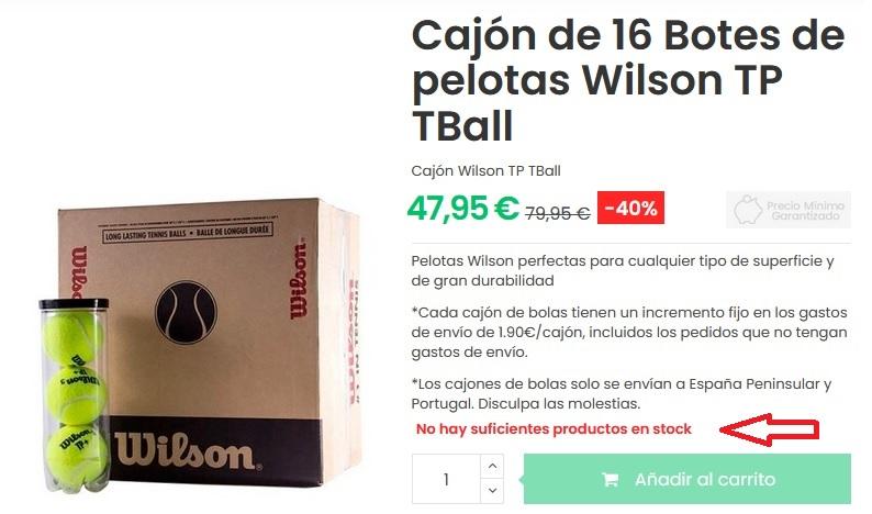 Escasez de pelotas de pádel Wilson