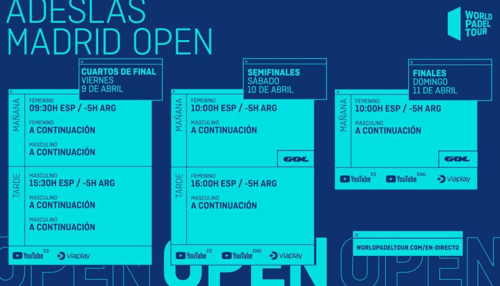 Horarios de retransmisión del WPT Adeslas Madrid Open 2021